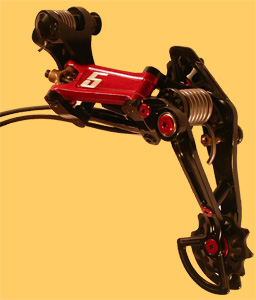5 red rear derailleur