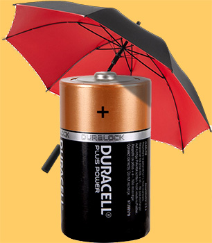 battery with umbrella