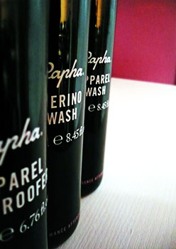 rapha wash and proofing products